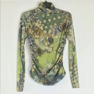 Etro Green Ruched Net Long Sleeve Floral Top
